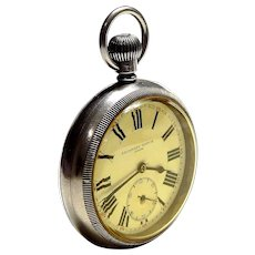 Antique Pocket Watch CYMA Escasany Open Face 1910c Case Stainless Steel 58mm Dial Porcelain