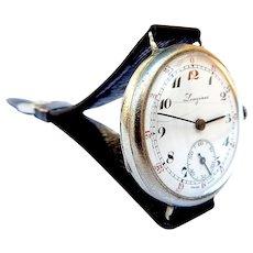 Vintage LONGINES, Watch Swiss Art Deco, Dial Porcelain Case Stainless Steel 1925c Measure 34mm