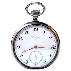 Antique Pocket Watch LONGINES Open Face 1920c Dial Porcelain Case Stainless Steel Measure 49mm