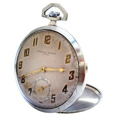 Antique Pocket Swiss PEIGUES WATCH Art Deco Open Face 1910c Working Cal 632