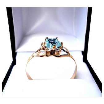 Antique Ring Art Deco, 1930c Solid Gold 18kt, With Turquoise Aquamarine & Five Zircons, 2.0 Gr US Size 11