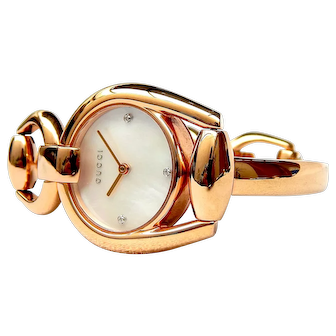 Watch GUCCI Horsebit, Quartz Mother of Pearl Dial for Lady Case Gold