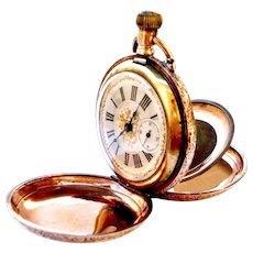 Antique Pocket Watch Hunter Art Nouveau 1890c Dial Textured Gold Working 55mm