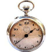 Antigue Pocket Watch Swiss Rosskopf Open Face 1920c Art Deco 51mm Working