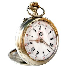 Antigue Pocket Watch Swiss Rosskopf & Co. Open Face 1900c Dial Porcelain Huge 54mm Working