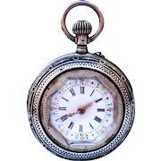 Antique Pocket Watch Silver Style Art Nouveau 1890c Working Dial Porcelain