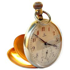 Antique OMEGA, Pocket Watch, Open Face Art Deco Cal 18 LPB Circa 1925, Measure 50mm Case Steel and Gold