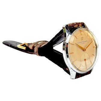 Vintage Watch GIRARD PERREGAUX Classic, Style Art Deco, Mechanical Movement, 1950c Stainless Steel 35mm Gift Birthday Anniversary