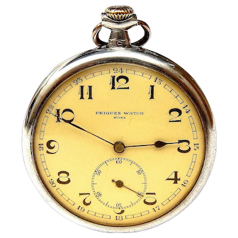 Antique Pocket Swiss PEIGUES Watch, Open Face Stylo Art Deco 1910c Case Solid Silver, 52mm Dial Porcelain