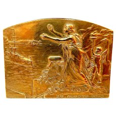 Antique Commemorative Plaque Style Art Nouveau Year 1913 Solid Bronze Gold Plated, Measure 73mm x 55mm
