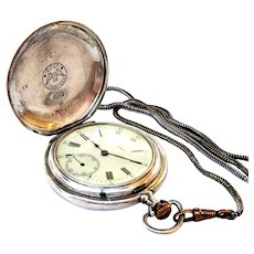 Antique LONGINES Pocket Watch Hunter, Art Deco, Case Silver 50mm Dial Porcelain, 1910c With Chatelaine