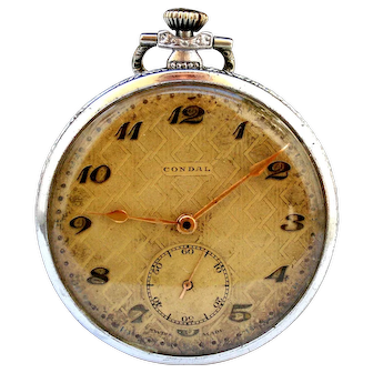 Antique Pocket Swiss CONDAL Art Deco Open Face 1910c Dial Textured Working