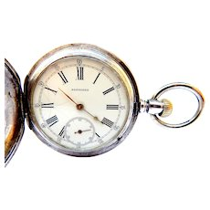Antique LONGINES, Pocket Watch Hunter, Circa 1889 with 130 years, Case Solid Silver, 50mm Dial Porcelain