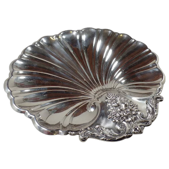 Rare Antique 1930, Sterling Silver, Footed Shell Sandwich Plate, by Reed & Barton in the Francis I Pattern