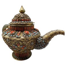 Antique Brass Chinese Teapot, Gem Detailed Metal, Original Patina