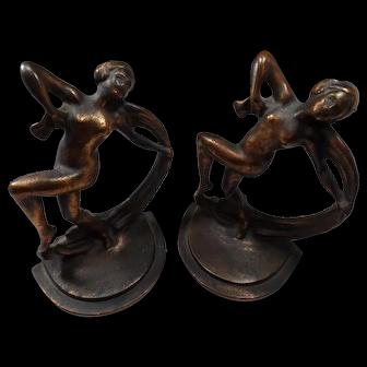Vintage Pair of Art Deco 1920's Bronze Coated Metal. Scarf Dancer Nudes #10