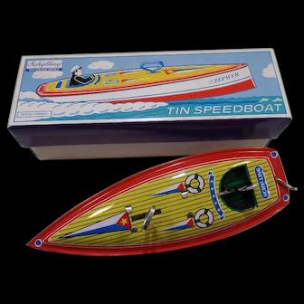 Schylling Aluminum Zephyr Tin Speedboat Wind-Up Toy-In Original Box