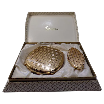 Stratton Powder Compact and Lipstick Holder with Mirror, Never Used