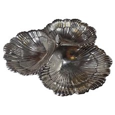 Antique Sterling Silver, Dish, 3-Sea Shell Design by Meriden Britannia Co.