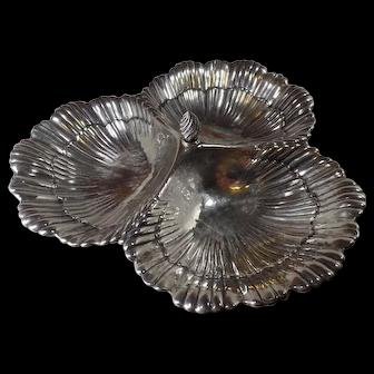 Antique Sterling Silver, Dish, 3-Sea Shell Design by Meriden Britannia Co.