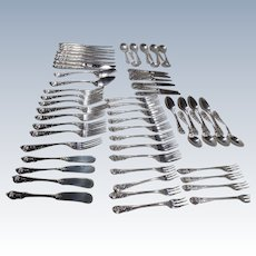 Vintage 1936,  Sir Christopher by Wallace Sterling Silver Flatware Set For 8 Service, 60 Pieces