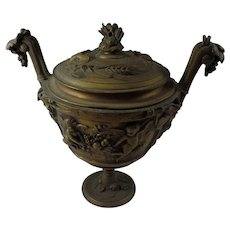 Antique, Figural Gilted Bronze Urn, With Lid  ,19th Century,  Marked VP with a Crown