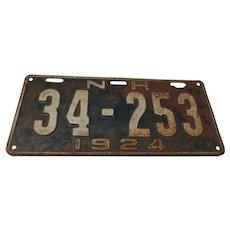 1924 New Hampshire License Plate, Original Vintage Condition.  No.34-253