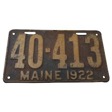 1922 Maine License Plate, Original Vintage Condition.  No.40-413
