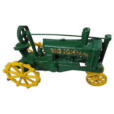 "Vintage Cast Iron John Deere Toy Tractor. ""Big John"""