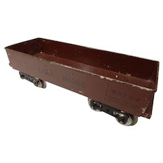 Prewar Lionel 112 Lake Shore Red Tin Plate Gondola RR Car,  Standard Gauge,