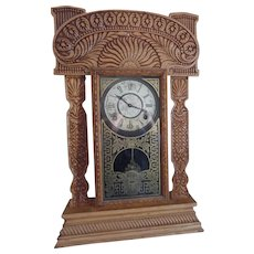 Antique (1908) Ingraham Ginger Bread Mantel Clock With Pendulum and Key,