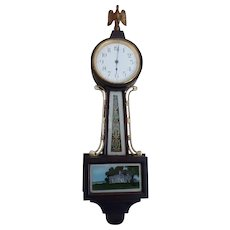 Antique (Early1900's) Miniature Mahogany Banjo Clock, By New Haven Clock Co.