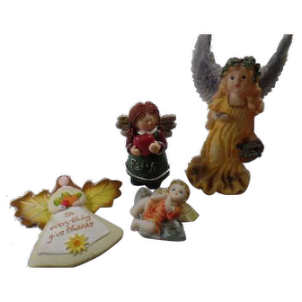 A Grouping Of Angels, 2 Figurines, and 2 Angel Magnets, A Real Nice Collection