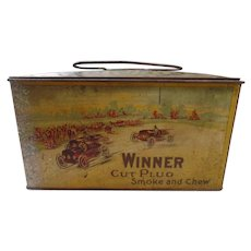 Antique Litho Winner Brand,  Cut Plug Lunchbox Advertising Tobacco Tin Can
