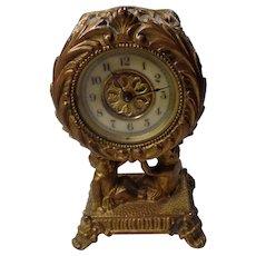 Antique,1891  Art Nouveau Shelf Clock, Footed, With-Cherubs,  Brass/Gold Gilt   Waterbury Clock Co