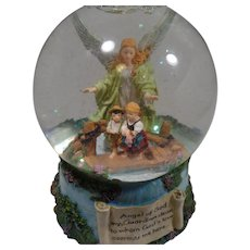 Angel of God, Religious Musical,  Liquid Glass Globe with Colored Flakes