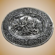 18th Century Swedish dish, Stockholm 1770. All repousse and hand chased in solid silver.