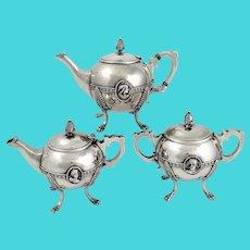 New Orleans Coinsilver Tea set c 1865 +