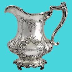 Gorham Art Nouveau sterling water pitcher 1906.