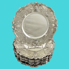 """12 Gorham Sterling Chargers 11 3/4"""" in diameter. Special order circa 1904-5"""
