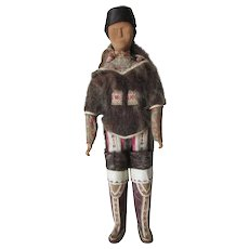 """Greenland Inuit Wooden Antique Folk Art Doll 15"""" and Baby Museum Quality - Red Tag Sale Item"""