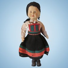 "Large Early Ronnaug Petterssen Setesdal Norway Felt Cloth Vintage Doll 14 1/2""  TLC"