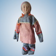 """Rare Chinese Jointed Wooden Bisque Head Doll 11"""" All Original"""
