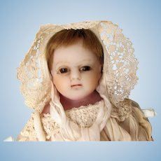 English 19th C Poured Wax Antique Baby Doll All Original