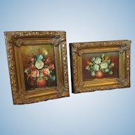 Small Pair Italian Floral Oil Paintings on Wooden Board in Neapolitan Gilt Frames Perfect for French Fashion Doll Display