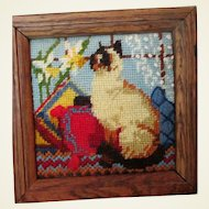 Small Wool Needlepoint Embroidered Cat in WIndow