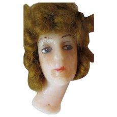 Antique Poured Wax Edwardian Doll Head Long Flange Neck