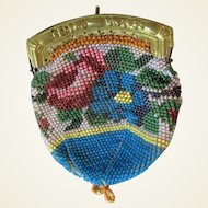 19th Century Doll Microbeaded Floral Purse Reticule