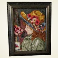 Woolen Crewel Hand Embroidery of Girl in Flowered Hat