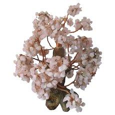 Vintage Japanese Sakura Bonsai Tree Rose Quartz Gem Stone and Copper Sculpture